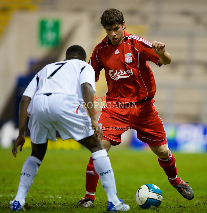 WARRINGTON, ENGLAND - Saturday, March 1, 2008: Liverpool's Emiliano Insua in action against Bolton Wanderers during the FA Premiership Reserves League (Northern Division) match at the Halliwell Jones Stadium. (Photo by David Rawcliffe/Propaganda)