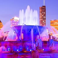 Chicago panoramic picture with Buckingham Fountain and Chicago skyline at night. Panoramic picture ratio is 1:3.   Officially named the Clarence F. Buckingham Memorial Fountain, the fountain is a very popular attraction located in Grant Park in downtown Chicago.