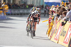 Ellen van Dijk (NED) of Team Sunweb attacks with one lap to go on Stage 3 of the Ladies Tour of Norway - a 156.6 km road race, between Svinesund (SE) and Halden on August 20, 2017, in Ostfold, Norway. (Photo by Balint Hamvas/Velofocus.com)