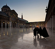 Courtyard at dusk Umayyad Mosque, Damascus, Syria