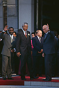 President-elect Nelson Mandela with his two deputy presidents &mdash; Thabo Mbeki and F.W de Klerk after the inaugural sitting of South Africa&rsquo;s first all-race parliament on May 9, 1994. <br /> <br /> Photograph &copy; nic bothma