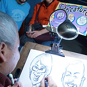 American Lamb Board Global Flavors Lamb Tour: Lamb Jam Seattle. Vincent Lee caricatures.