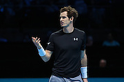 Andy Murray appeals to the umpire during the ATP World Tour Finals at the O2 Arena, London, United Kingdom on 20 November 2015. Photo by Phil Duncan.