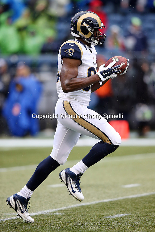 St. Louis Rams tight end Jared Cook (89) runs with the ball after catching a pass before the 2015 NFL week 16 regular season football game against the Seattle Seahawks on Sunday, Dec. 27, 2015 in Seattle. The Rams won the game 23-17. (©Paul Anthony Spinelli)