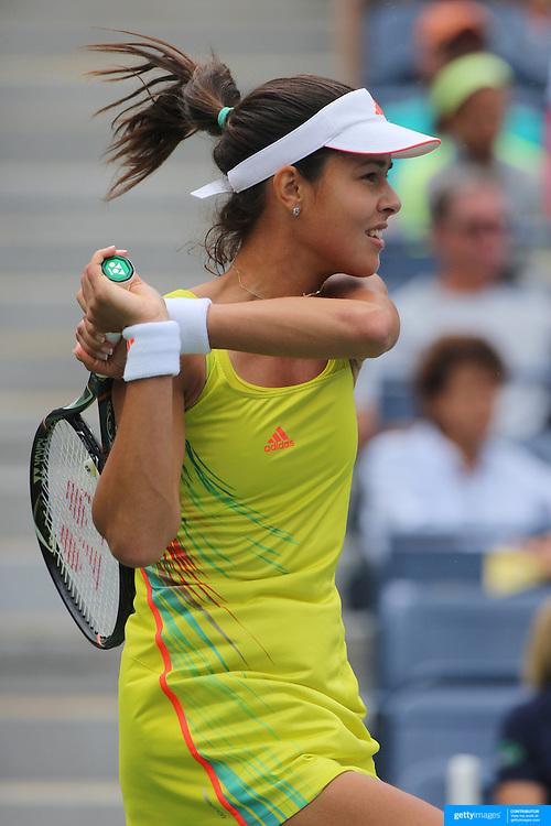 Ana Ivanovic, Serbia, in action against Tsvetana Pironkova, Bulgaria, during the US Open Tennis Tournament, Flushing, New York. USA. 3rd September 2012. Photo Tim Clayton