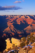Evening light on the Grand Canyon from Yavapai Point, South Rim, Grand Canyon National Park, Arizona