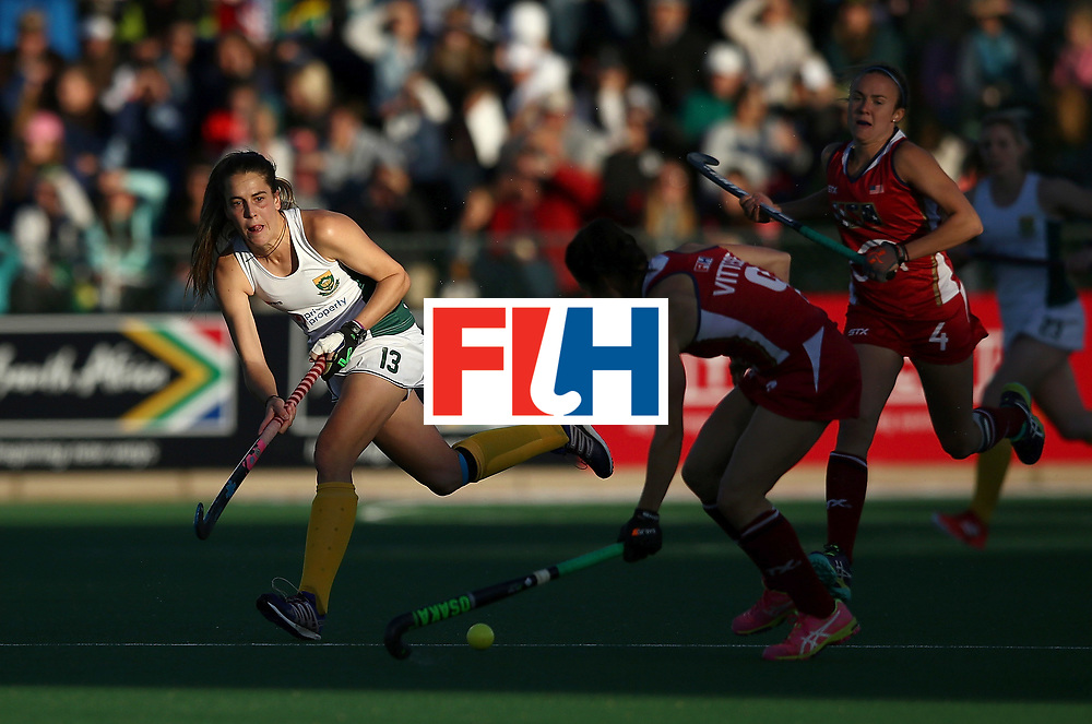 JOHANNESBURG, SOUTH AFRICA - JULY 16:  Lisa-Marie Deetlefs of South Africa passes the ball during day 5 of the FIH Hockey World League Women's Semi Finals Pool B match between South Africa and United States of America at Wits University on July 16, 2017 in Johannesburg, South Africa.  (Photo by Jan Kruger/Getty Images for FIH)