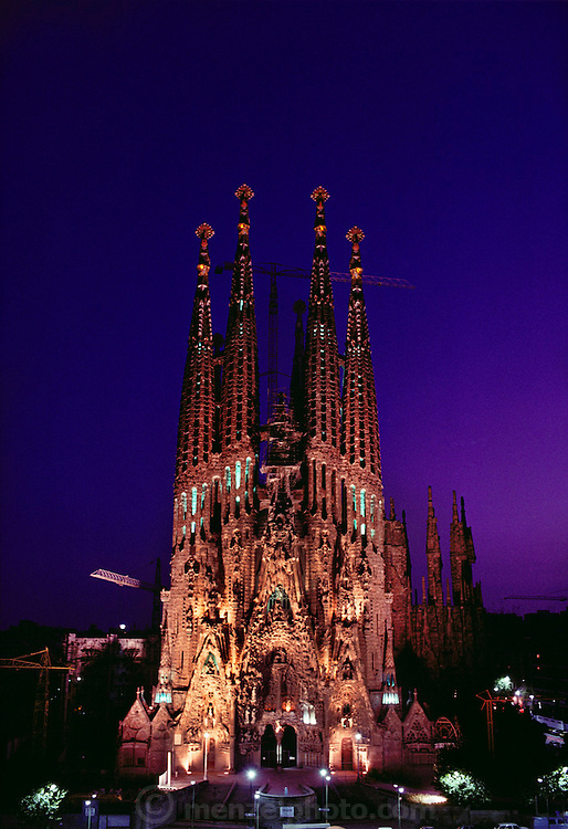 Dusk view of the Sagrada Familia, a cathedral designed by Gaudi in Barcelona, Spain.
