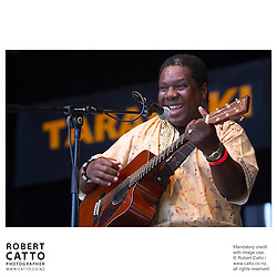 Vusi Mahlasela performs at WOMAD music festival in New Plymouth, Taranaki New Zealand.