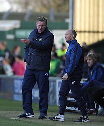 Yeovil Town's Acting Manager Terry Skiverton and Yeovil Town's Coach Darren Way  - Photo mandatory by-line: Harry Trump/JMP - Mobile: 07966 386802 - 21/02/15 - SPORT - Football - Sky Bet League One - Yeovil Town v Gillingham - Huish Park, Yeovil, England.