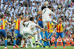 09.05.2015, Estadio Santiago Bernabeu, Madrid, ESP, Primera Division, Real Madrid vs FC Valencia, 36. Runde, im Bild Real Madrid&acute;s Cristiano Ronaldo and Valencia&acute;s Daniel Parejo // during the Spanish Primera Division 36th round match between Real Madrid CF and Valencia FC at the Estadio Santiago Bernabeu in Madrid, Spain on 2015/05/09. EXPA Pictures &copy; 2015, PhotoCredit: EXPA/ Alterphotos/ Luis Fernandez<br /> <br /> *****ATTENTION - OUT of ESP, SUI*****