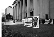 Illinois State Senator and U.S. Senate candidate Barack Obama's campaign signs in front of Rainbow Push headquarter in Chicago Saturday March 6, 2004.