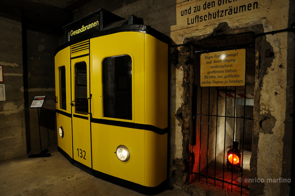 Gesundbrunnen U-Bahn station. The Gesundbrunnen bunker was used as an air raid shelter during the WWII war. The bunker only offered the illusion of protection. To save on building costs, the Nazis only built the walls 120 centimetres thick. To be effective, the walls should have been at least two metres thick.