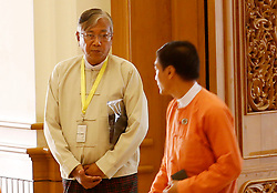 Presidential candidate U Htin Kyaw (L) of the National League for Democracy (NLD) arrives at the Union Parliament in Nay Pyi Taw, Myanmar, March 15, 2016. Myanmar new presidential election started Tuesday in the Union Parliament comprising two Houses to elect the country's new president from among three vice presidents. EXPA Pictures © 2016, PhotoCredit: EXPA/ Photoshot/ U Aung<br /> <br /> *****ATTENTION - for AUT, SLO, CRO, SRB, BIH, MAZ, SUI only*****