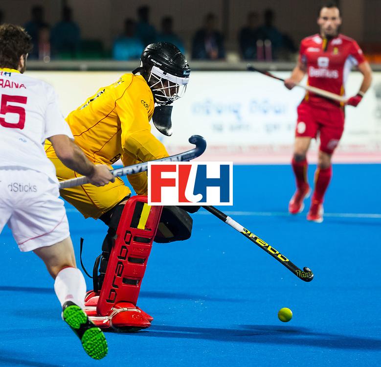 BHUBANESWAR - keeper Vincent Vanasch (Bel)  Hockey World League finals , wedstrijd om de 5e plaats. Belgie-Spanje.  COPYRIGHT KOEN SUYK