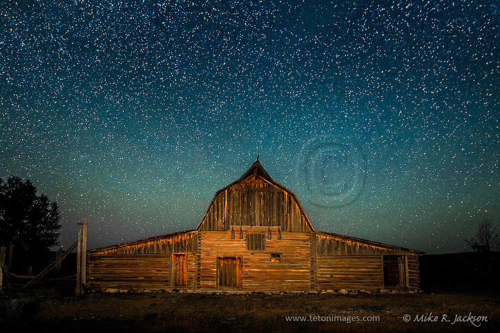 Starry Night over the North Moulton Barn in Jackson Hole, WY and Grand Teton National Park