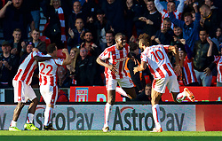 STOKE-ON-TRENT, ENGLAND - Saturday, September 9, 2017: Stoke City's Eric Maxim Choupo-Moting celebrates scoring the first goal during the FA Premier League match between Stoke City and Manchester United at the Bet365 Stadium. (Pic by David Rawcliffe/Propaganda)