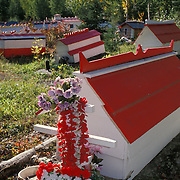 Athabascan Indian Spirit Houses in Russian Orthodox Cemetery, Eklutna, Alaska