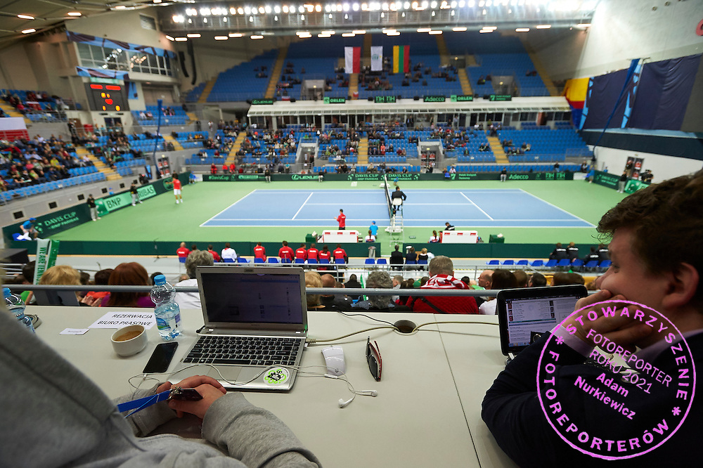 Media tribune during third day the Davies Cup / Group I Europe / Africa 1st round tennis match between Poland and Lithuania at Orlen Arena on March 8, 2015 in Plock, Poland<br /> Poland, Plock, March 8, 2015<br /> <br /> Picture also available in RAW (NEF) or TIFF format on special request.<br /> <br /> For editorial use only. Any commercial or promotional use requires permission.<br /> <br /> Mandatory credit:<br /> Photo by &copy; Adam Nurkiewicz / Mediasport