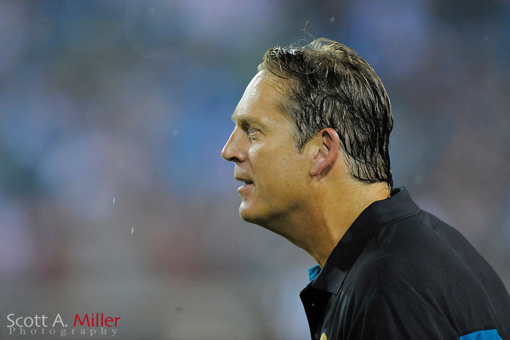 Aug. 21, 2010; Jacksonville, FL, USA; Jacksonville Jaguars head coach Jack Del Rio during his team's game against the Miami Dolphins at EverBank Field. ©2010 Scott A. Miller