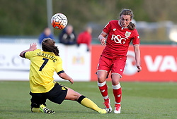 Jodie Brett of Bristol City Women chips the ball over Sarah Mayling of Aston Villa Ladies - Mandatory by-line: Robbie Stephenson/JMP - 02/01/2012 - FOOTBALL - Stoke Gifford Stadium - Bristol, England - Bristol City Women v Aston Villa Ladies - FA Women's Super League 2