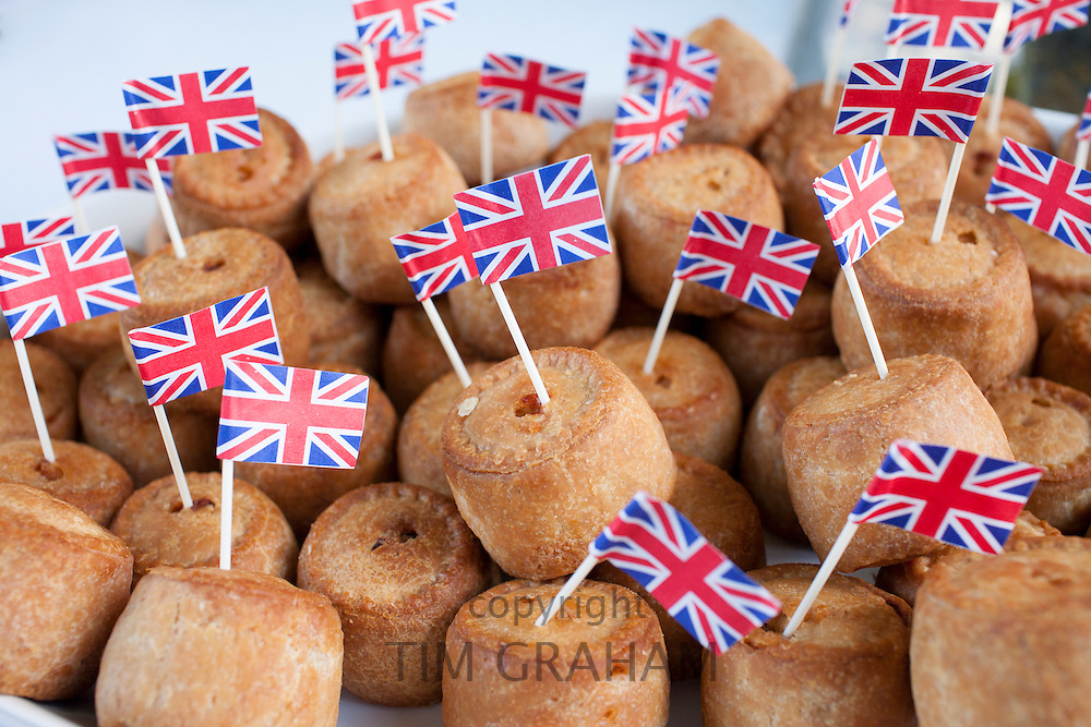 Union Jack flags on pork pies as patriotic gesture for jubilee street party celebrations in the UK