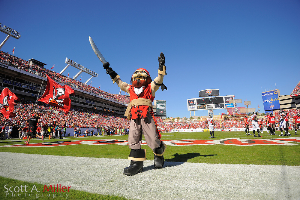 Tampa Bay Buccaneers mascot Captain Fear during an NFL game against the Atlanta Falcons at Raymond James on November 25, 2012 in Tampa, Florida. ...©2012 Scott A. Miller..