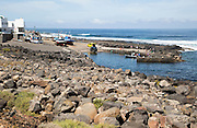 Harbour with fishing boats at La Santa, Lanzarote, Canary islands, Spain