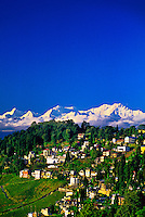 Darjeeling (with the Kanchenjunga Range including Mt. Kanchenjunga, third highest peak in the world, in background), West Bengal, India