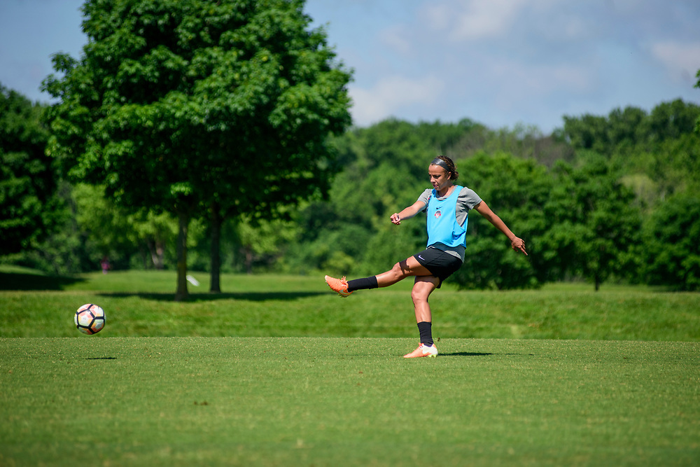 Boyd, Maryland - May 31, 2017: Washington Spirit soccer player Mallory Pugh practices with her team at the Maryland SoccerPlex in Boyd, Md., Wednesday May 31, 2017. <br /> <br /> Mallory Pugh, a rookie forward with the Washington Spirit, is the best young soccer player in America. <br /> <br /> <br /> CREDIT: Matt Roth for The New York Times<br /> Assignment ID: 30207020A