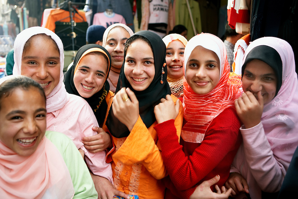 Muslim girls at Khan-alKhalili Bazaar in Cairo, Egypt