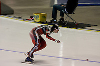 Calgary - December 5, 2009 - Essent ISU World Cup Speedskating at the Olympic Oval in Calgary.  Christine Nesbitt of Canada races in the A Division of the women's 1500m event.  Nesbitt finished 2nd in 1:54.43 and was part of a strong Canadian contingent that took 3 of the top 4 places in the event...©2009, Sean Phillips.http://www.Sean-Phillips.com