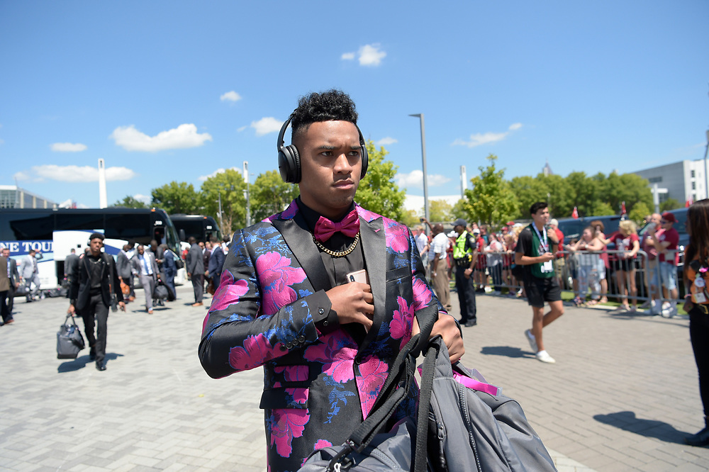 Alabama Crimson Tide quarterback Tua Tagovailoa (13) prior to the Chick-fil-A Kickoff Game at the Mercedes-Benz Stadium, Saturday, August 31, 2019, in Atlanta. (Vasha Hunt via Abell Images for Chick-fil-A Kickoff)