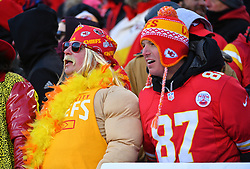 Jan 19, 2020; Kansas City, Missouri, USA; Kansas City Chiefs fans show their support during the AFC Championship Game against the Tennessee Titans at Arrowhead Stadium. Mandatory Credit: Denny Medley-USA TODAY Sports