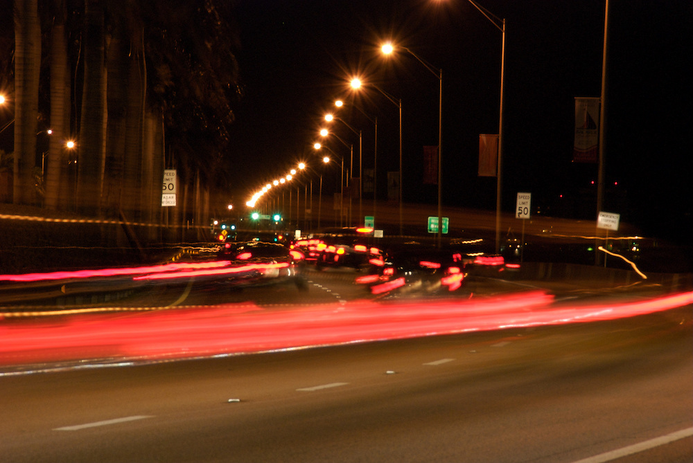 Cars at Night going from Downtown Miami to South Beach on MacArthur Causeway
