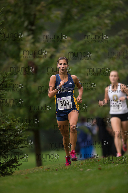 Lauren Fisico of Windsor Lancers runs in the women's 5K Run at the 2013 Western International Cross country meet in London Ontario, Saturday,  September 21, 2013.<br /> Mundo Sport Images/ Geoff Robins