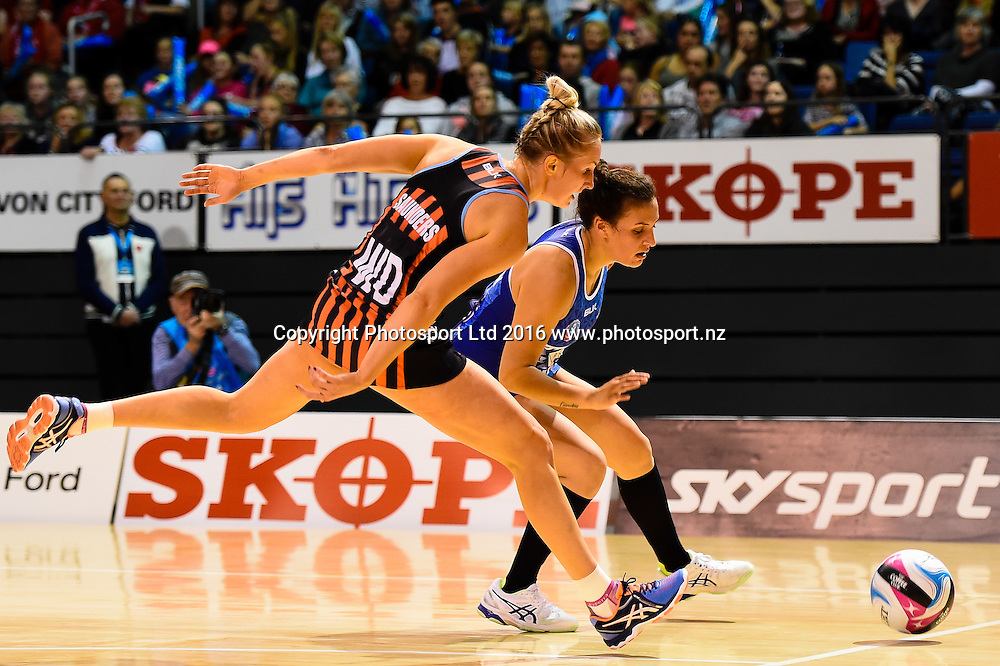 Hayley Saunders of the Tactix and Nadia Loveday of the Mystics go for the ball during the ANZ Championship netball game Canterbury Tactixs V Northern Mystics at  Horncastle Arena, Christchurch, New Zealand. 25th April 2016. Copyright Photo: John Davidson / www.photosport.nz