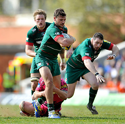 Adam Thompstone of Leicester Tigers in possession - Photo mandatory by-line: Patrick Khachfe/JMP - Mobile: 07966 386802 25/04/2015 - SPORT - RUGBY UNION - Leicester - Welford Road - Leicester Tigers v London Welsh - Aviva Premiership