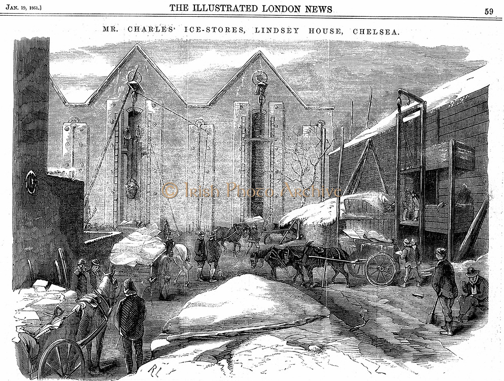 Ice being stacked in insulated warehouses in January to be stored for summer use. Charles's Ice Store, Chelsea, London. Wood engraving, 1861