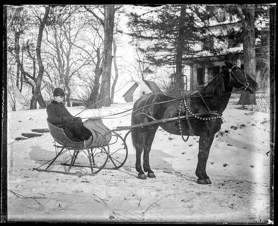 Victorian photograph of a man with a horse and carriage in the snow in Fallston, Maryland.