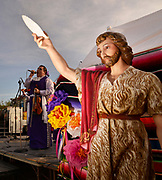 El Dia de San Juan Fiesta, which celebrates the birthday of Saint John the Baptist and the start of the monsoon season in the Sonoran Desert, takes place along the Santa Cruz River Park, Tucson, Arizona, USA. Saint John the Baptist is the patron saint of water.