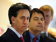 © Licensed to London News Pictures. 16/04/2012. London, UK .Left to right: ED MILLIBAND MP, STEPHEN TWIGG MP and STEPHEN TIMMS MP. Ed Miliband MP, Leader of the Labour Party UK, visits The Skills Place in Westfield Stratford today, 16th April 2012, on a visit to highlight youth unemployment issues. Photo credit : Stephen Simpson/LNP