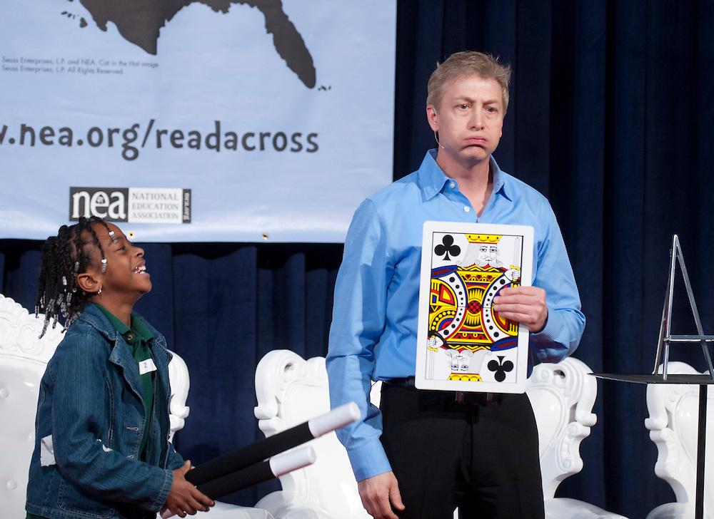 Mar 2, 2011 - Washington, District of Columbia, U.S. - Magician Joe Romano performs during the NEA's Read Across America kickoff at the Library of Congress. (Credit Image: © Pete Marovich/ZUMA Press)