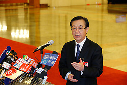 Chinese Commerce Minister Gao Hucheng receives an interview before the closing meeting of the fourth session of the 12th National Committee of the Chinese People's Political Consultative Conference at the Great Hall of the People in Beijing, capital of China, March 14, 2016. EXPA Pictures © 2016, PhotoCredit: EXPA/ Photoshot/ Shen Bohan<br /> <br /> *****ATTENTION - for AUT, SLO, CRO, SRB, BIH, MAZ, SUI only*****