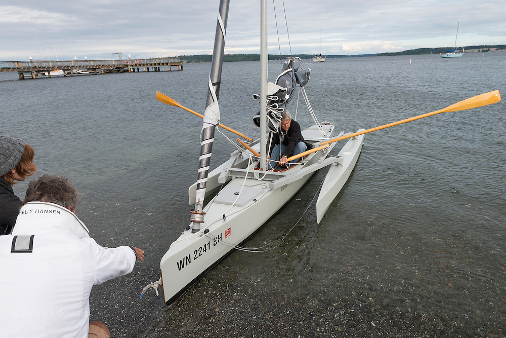 A brief test of a just finished boat, the day before the race.<br /> <br /> Image from the 1st R2AK, Port Townsend's Race to Alaska. All the boats are wind and/or human powered (oars, paddles, pedals) ... no motors allowed. The race kicked off June 4, 2015, with the 1st leg to Victoria, B.C. http://r2ak.com/