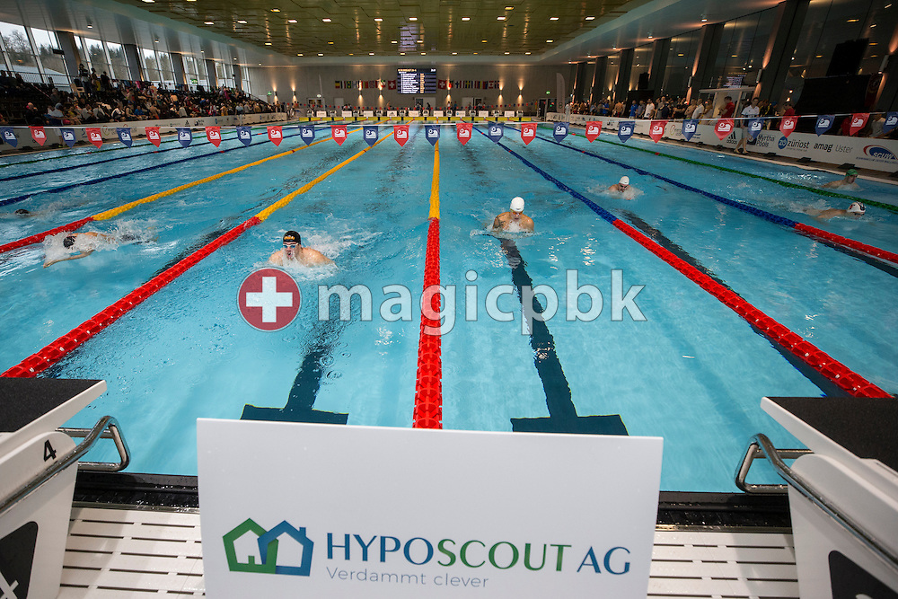 A HYPOSCOUT AG background advertising (banner, billboard) is seen during the International Long Course Swim Meet Uster 2017 held at the Hallenbad Buchholz in Uster, Switzerland, Sunday, Feb. 5, 2017. (Photo by Patrick B. Kraemer / MAGICPBK)