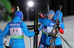 04.01.2012, DKB-Ski-ARENA, Oberhof, GER, E.ON IBU Weltcup Biathlon 2012, Staffel Frauen, im Bild Olga Vilukhina (RUS) im Ziel, sie wird von ihren Teamkolleginnen empfangen , Russland gewinnt die Staffel // during relay Ladies of E.ON IBU World Cup Biathlon, Thüringen, Germany on 2012/01/04. EXPA Pictures © 2012, PhotoCredit: EXPA/ nph/ Hessland..***** ATTENTION - OUT OF GER, CRO *****