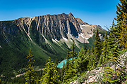 Sherbrooke Lake, seen from Paget Peak Trail in Yoho National Park, British Columbia, Canada.