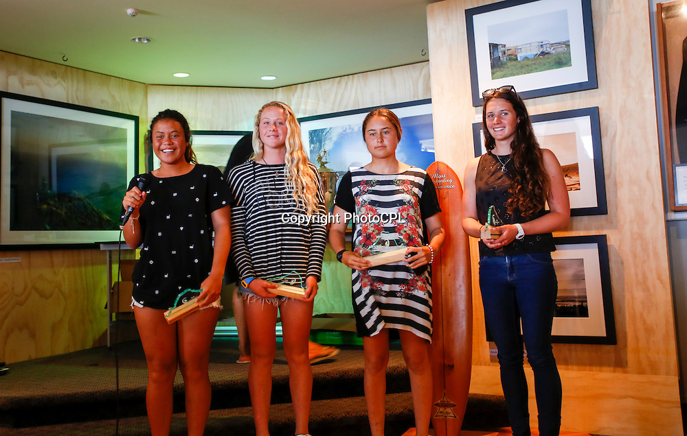 Girls U18 Finalists on the final day of the 2015 Billabong National Surfing Championships  driven by Subaru completed yesterday (Saturday 17th January). The National Surfing Championships run through until the 17th January at Piha Beach, Auckland and include 23 divisions for in excess of 260 entrants. Copyright photo: PhotoCPL