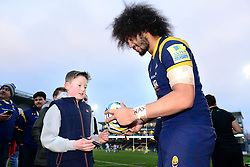 Chris Vui of Worcester Warriors signs a rugby for a young Worcester Warriors fan - Mandatory by-line: Dougie Allward/JMP - 18/02/2017 - RUGBY - Sixways Stadium - Worcester, England - Worcester Warriors v Exeter Chiefs - Aviva Premiership